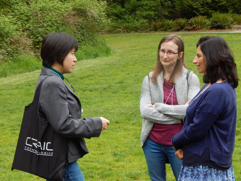 Photo: small group discussion on lawn