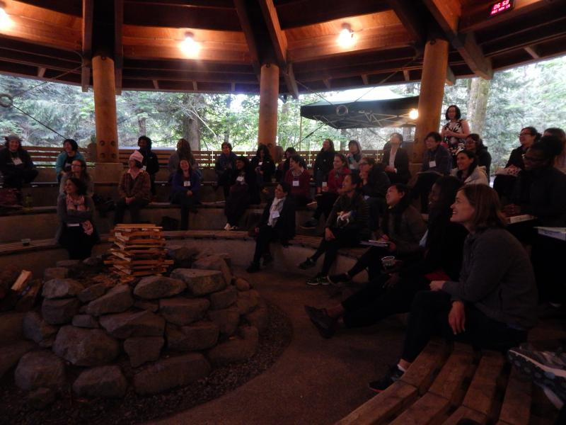Photo: group discussion around firepit